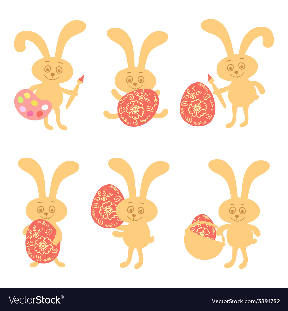 Set of cute easter bunny vector | Price: 1 Credit (USD $1)