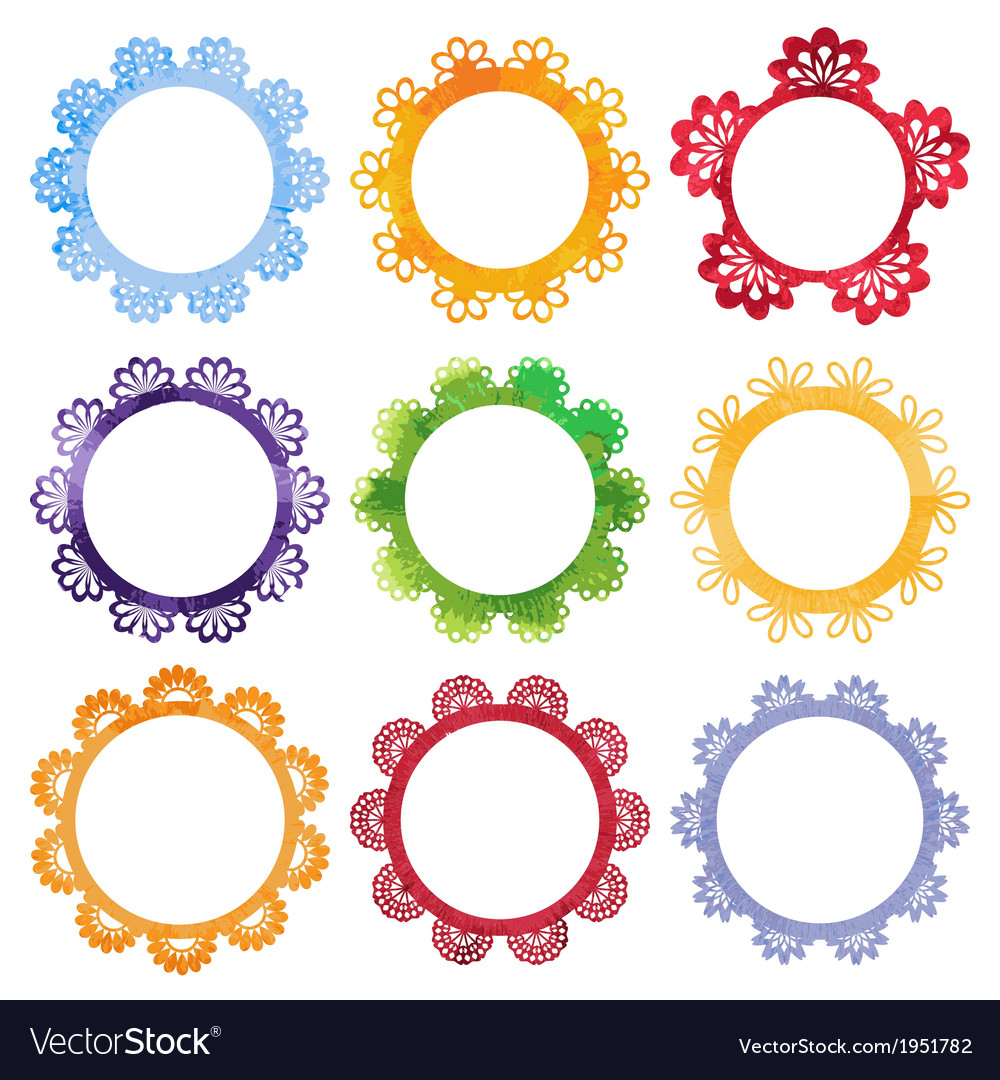 Super cool watercolor round frames vector | Price: 1 Credit (USD $1)