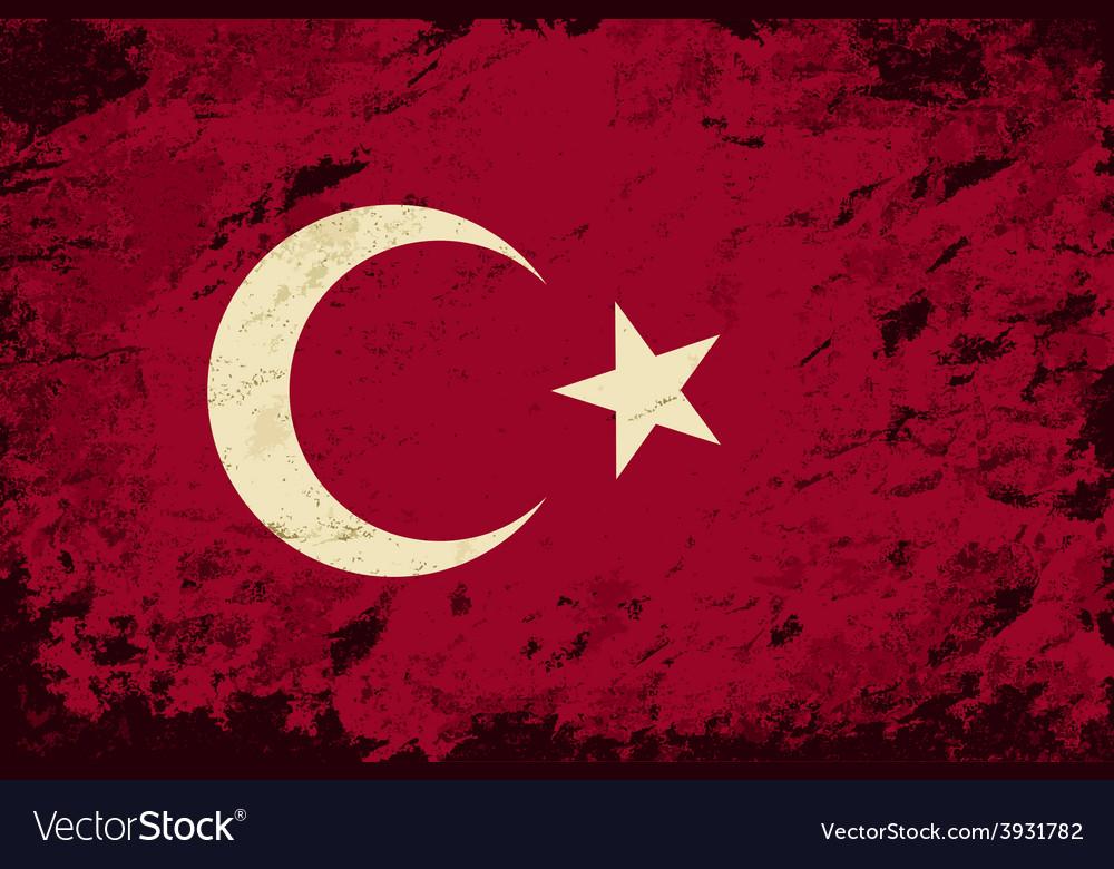 Turkish flag grunge background vector | Price: 1 Credit (USD $1)