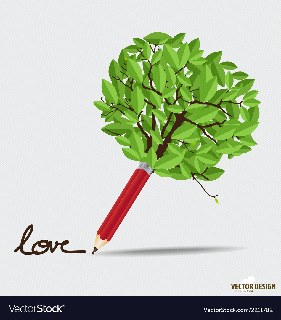 Wooden pencil with leaf vector | Price: 1 Credit (USD $1)