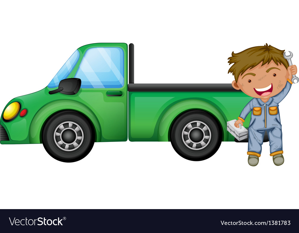 A man holding tools in front of a green cargo vector | Price: 1 Credit (USD $1)
