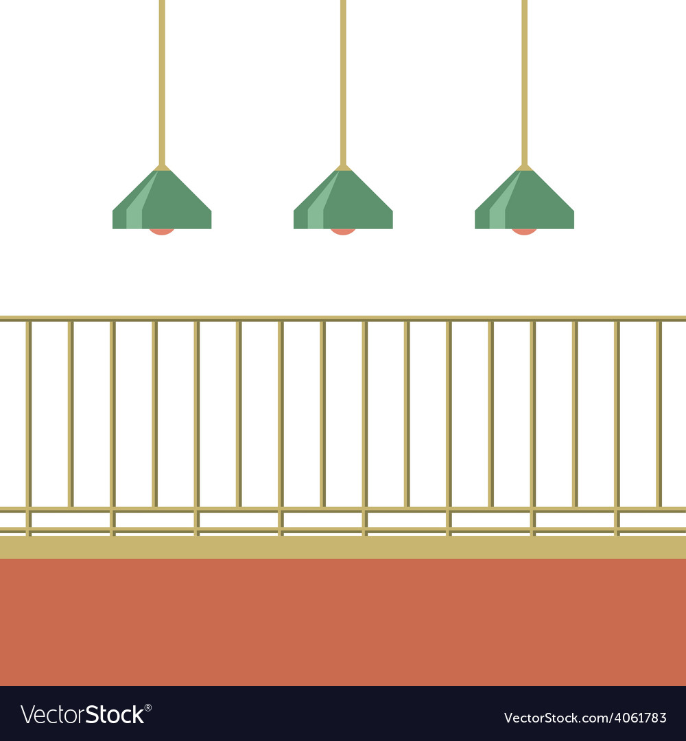 Empty balcony with ceiling lamps vector | Price: 1 Credit (USD $1)