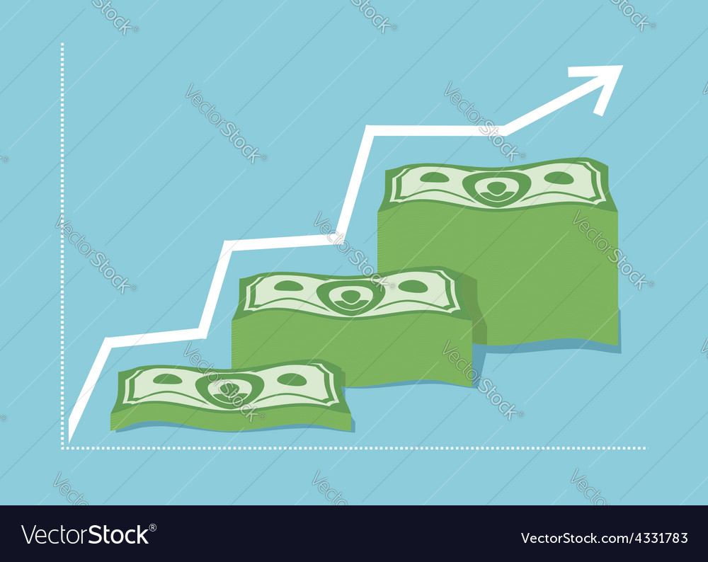 Graph money dollar increase revenue the companys vector | Price: 1 Credit (USD $1)