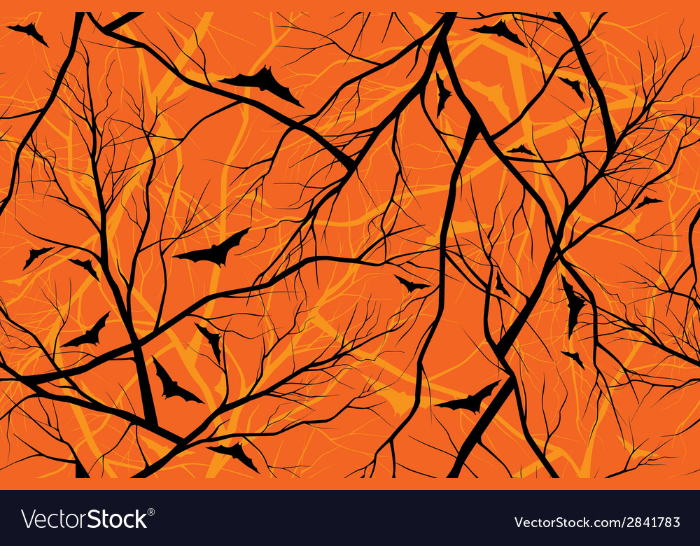 Halloween orange background grunge image of forest vector | Price: 1 Credit (USD $1)