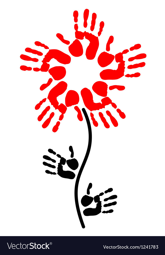 Handprint in the shape of a flower vector