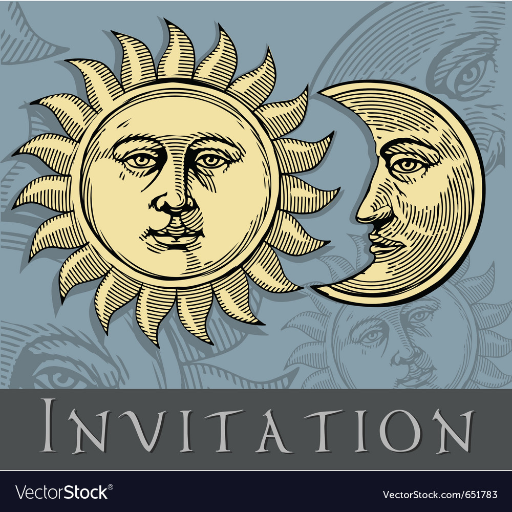 Invitation card with sun and moon vector | Price: 1 Credit (USD $1)