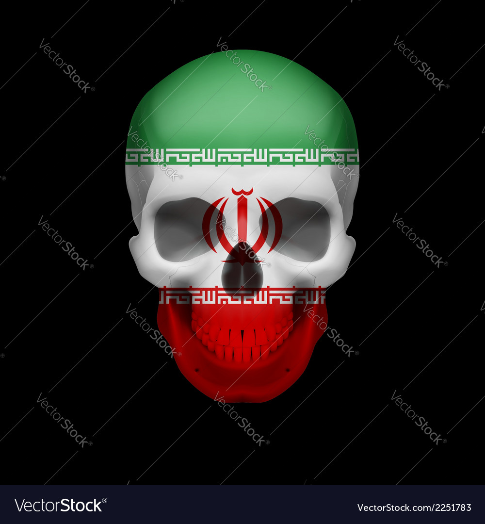 Iranian flag skull vector | Price: 1 Credit (USD $1)