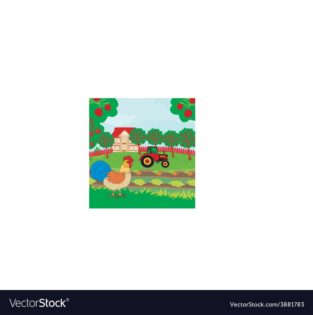 Rural landscape - rooster tractor and orchard vector | Price: 1 Credit (USD $1)