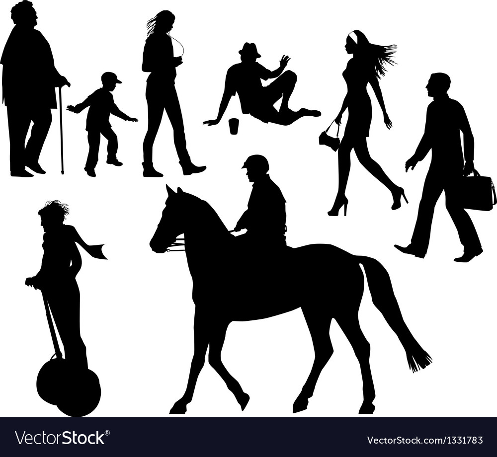 Several people on the street city live vector | Price: 1 Credit (USD $1)