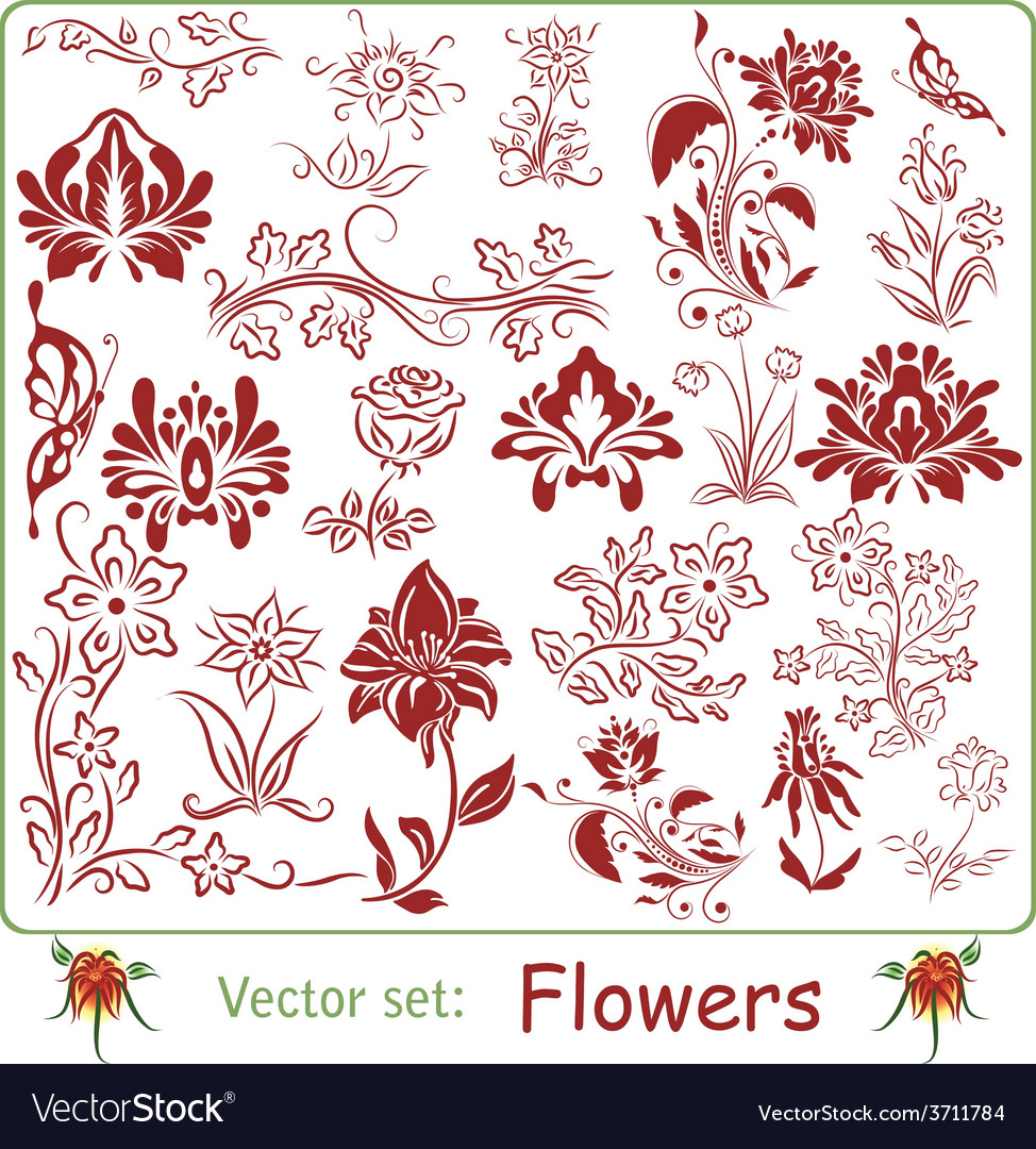 Big set of flowers vector | Price: 1 Credit (USD $1)