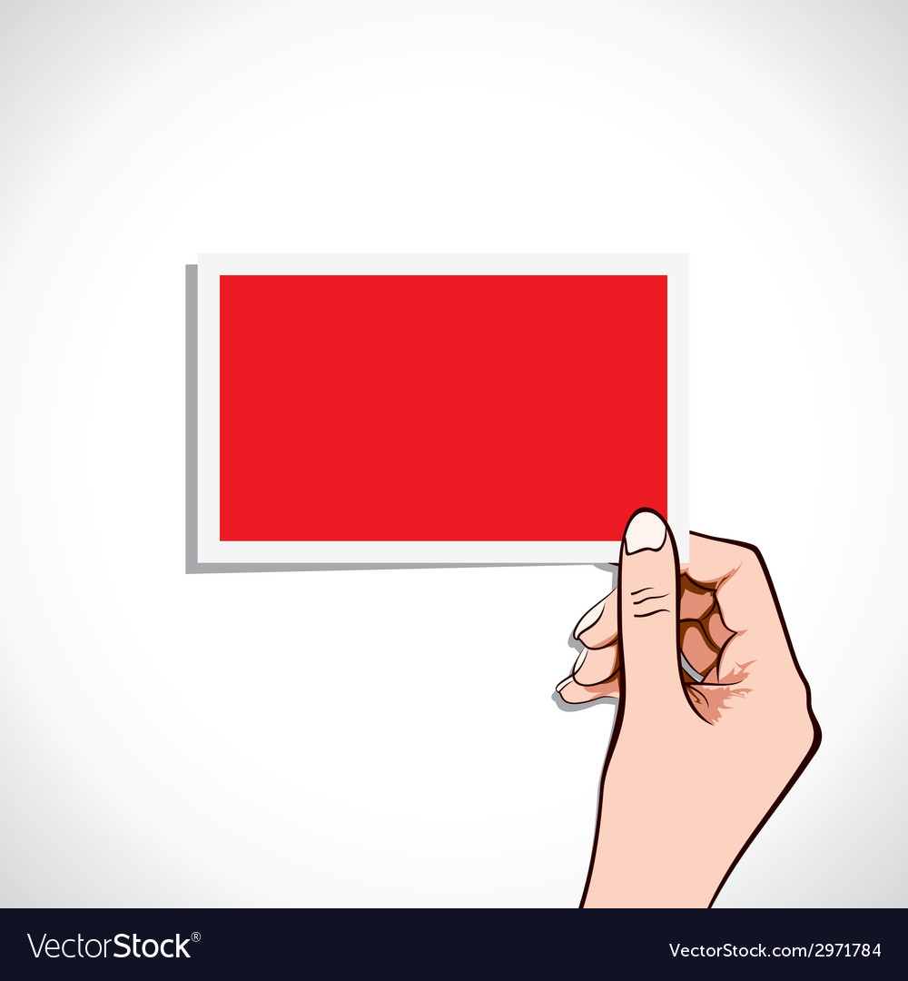 Blank red card in hand vector | Price: 1 Credit (USD $1)