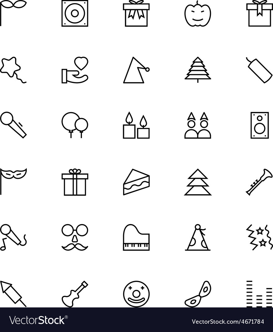Celebration line icons 4 vector | Price: 1 Credit (USD $1)