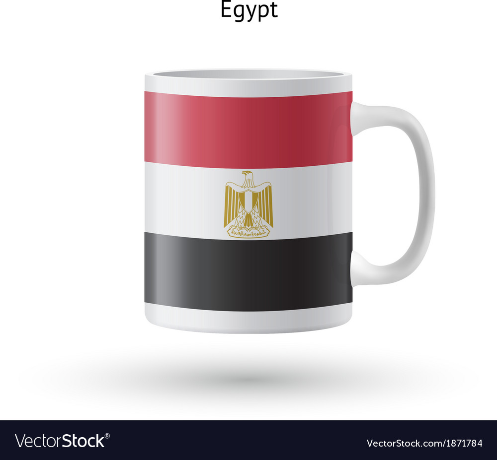 Egypt flag souvenir mug on white background vector | Price: 1 Credit (USD $1)