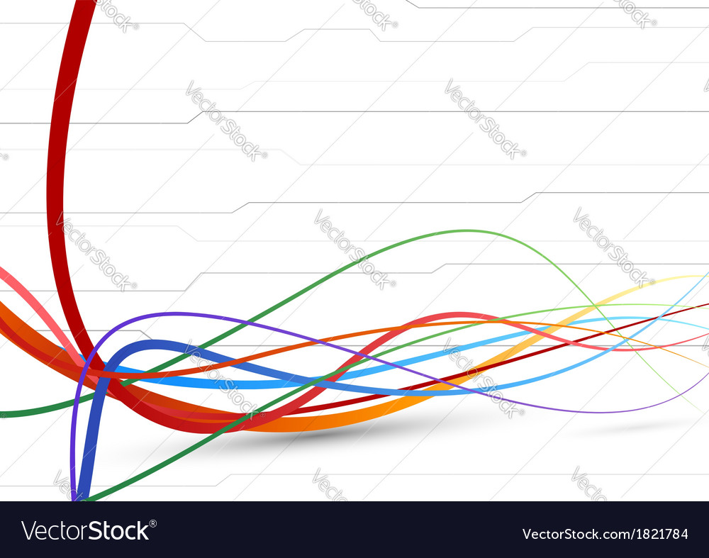 Futuristic background - colorful cable lines vector | Price: 1 Credit (USD $1)