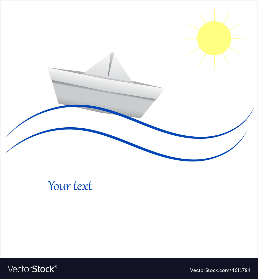 Paper boat in blue waves vector | Price: 1 Credit (USD $1)