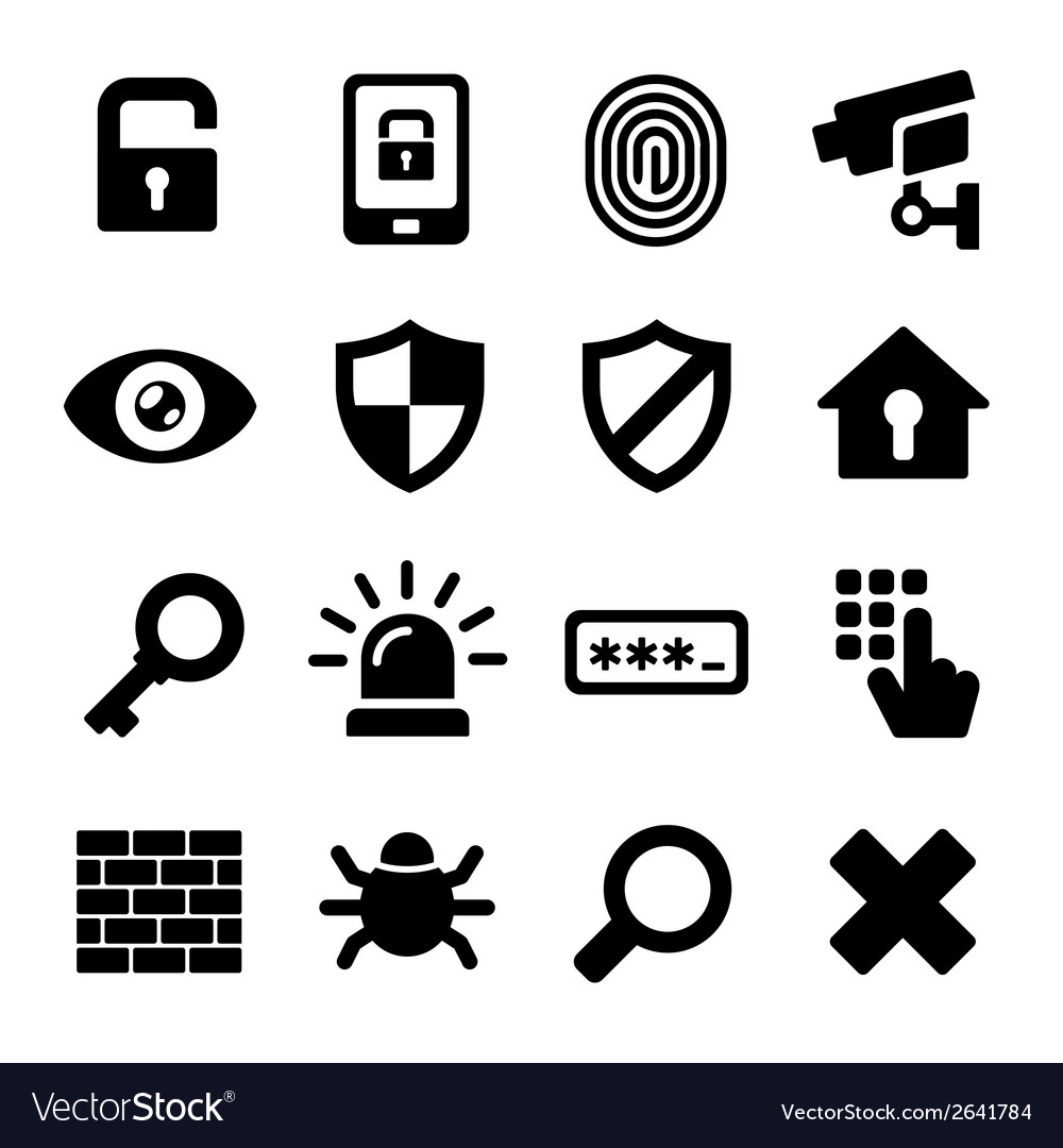 Security icons set vector | Price: 1 Credit (USD $1)