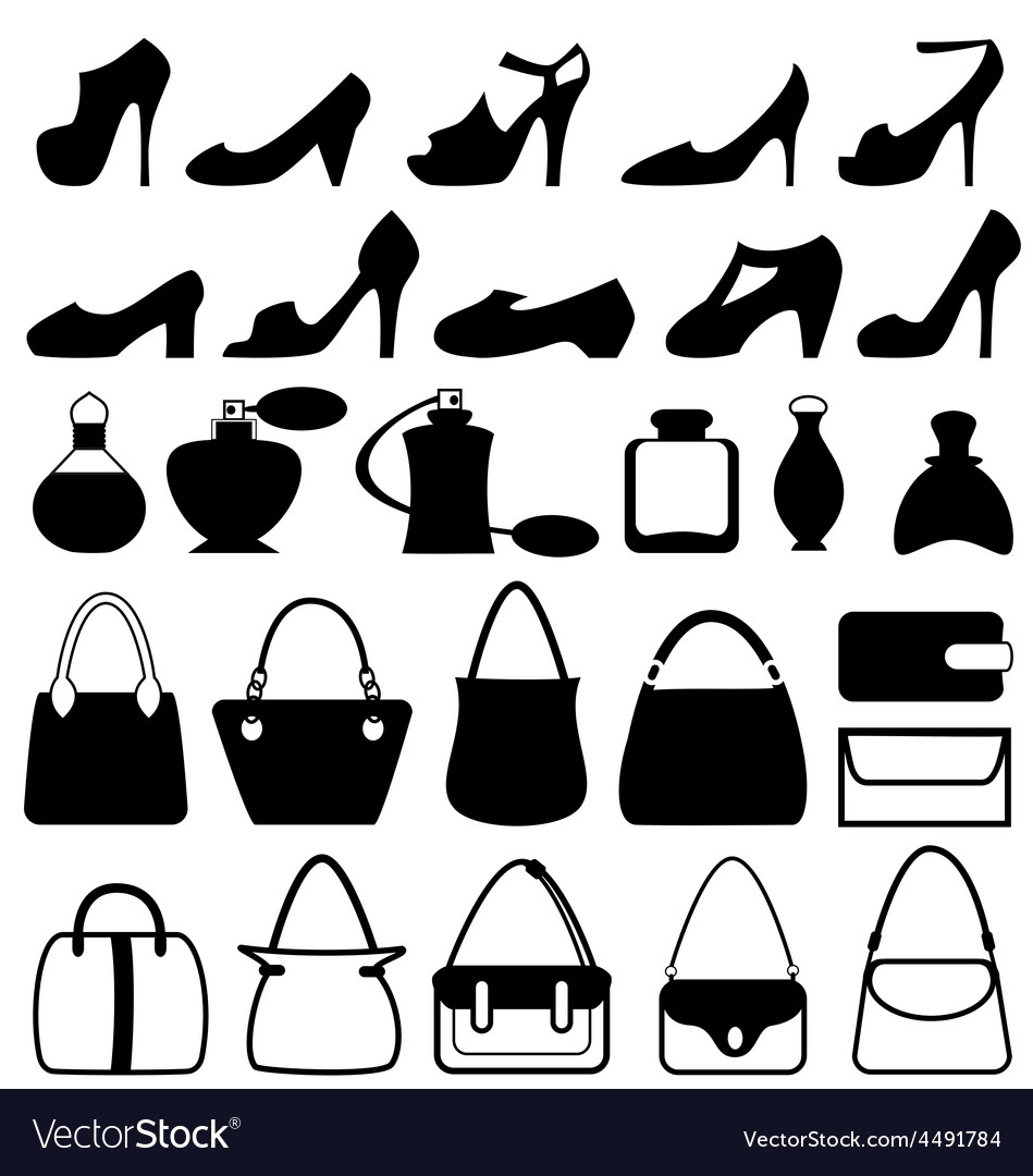 Set of flat woman accessories isolated on white vector   Price: 1 Credit (USD $1)