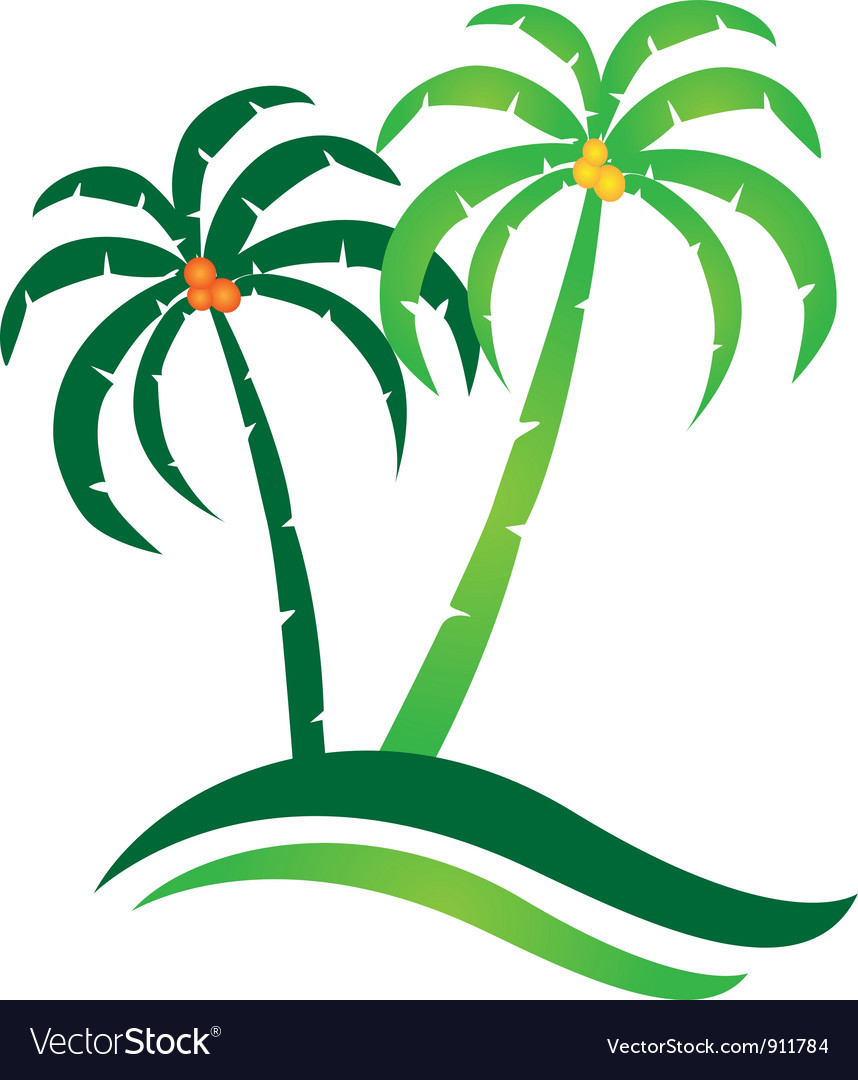 Tropical island logo vector | Price: 1 Credit (USD $1)