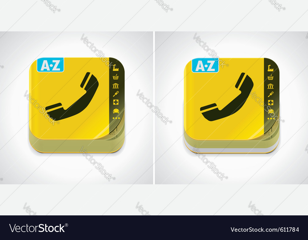 Yellow phone book icon vector | Price: 1 Credit (USD $1)