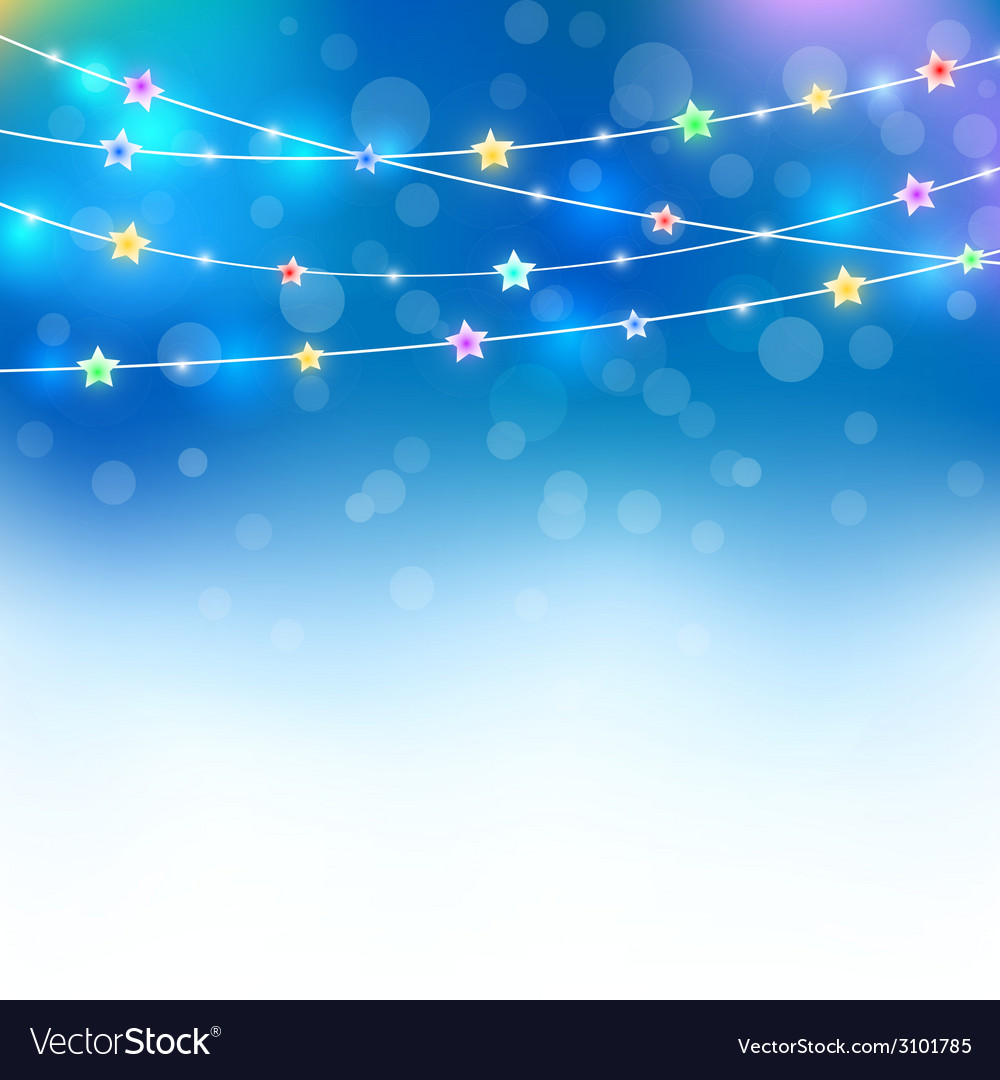 Blue magic holiday background with colored stars vector   Price: 1 Credit (USD $1)