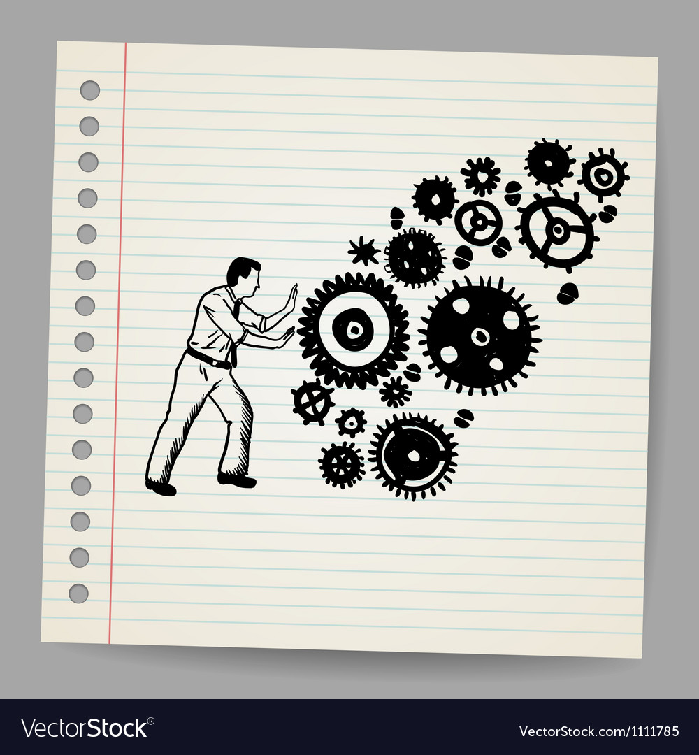 Business man pushing a cogwheel doodle concept vector | Price: 1 Credit (USD $1)