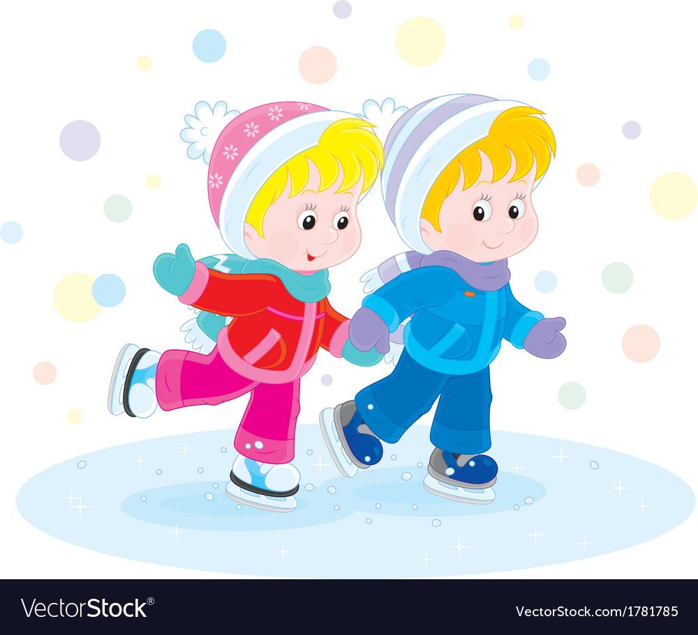 Children skating vector   Price: 1 Credit (USD $1)
