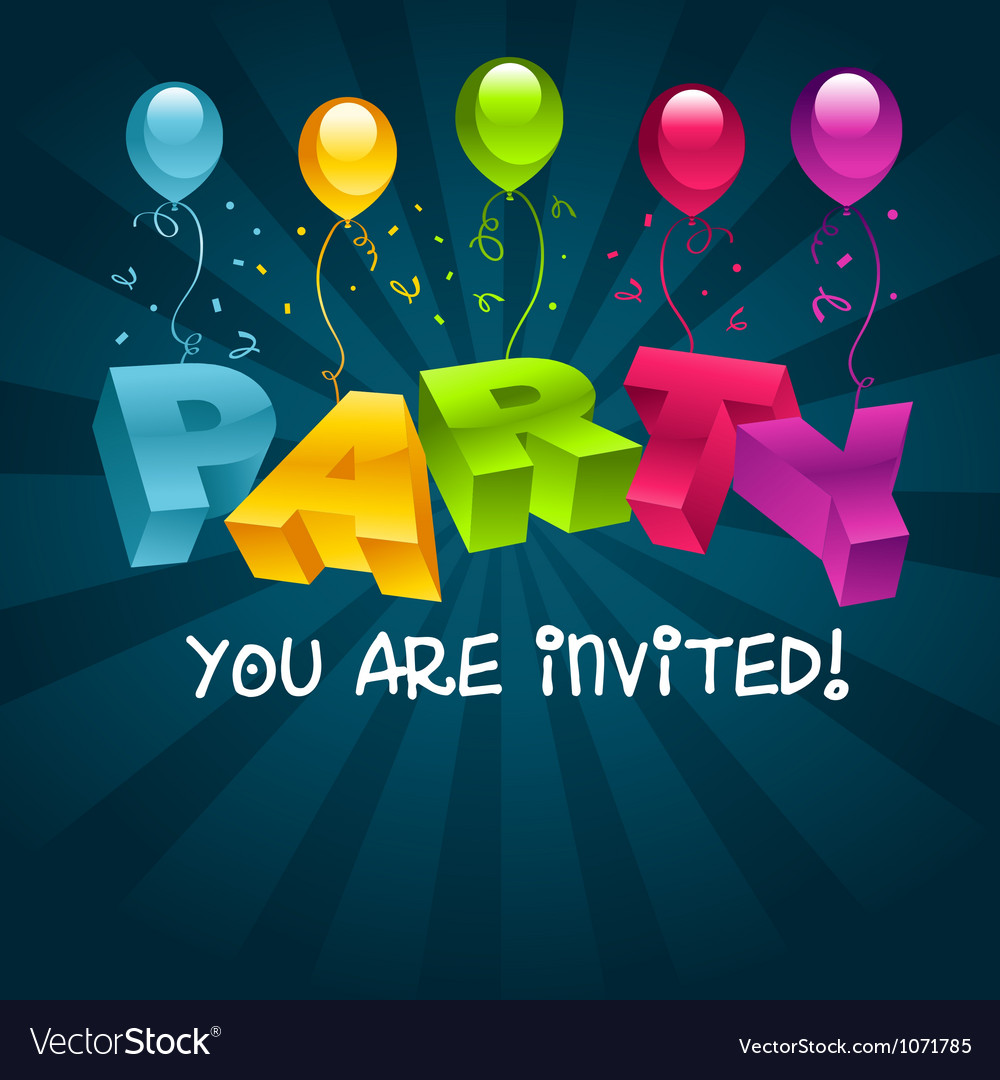 Colorful party invitation card vector | Price: 1 Credit (USD $1)
