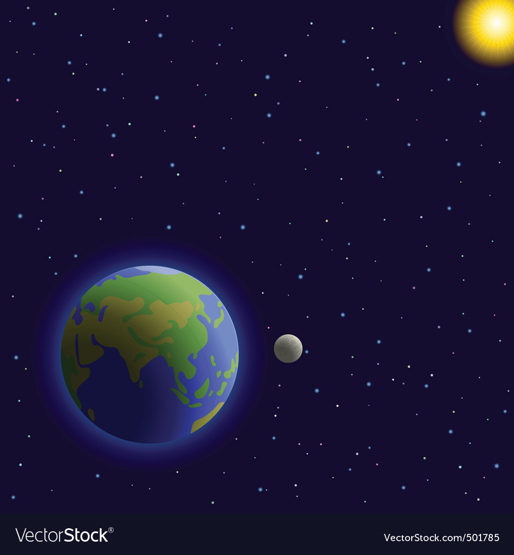 Earth moon and sun vector | Price: 1 Credit (USD $1)