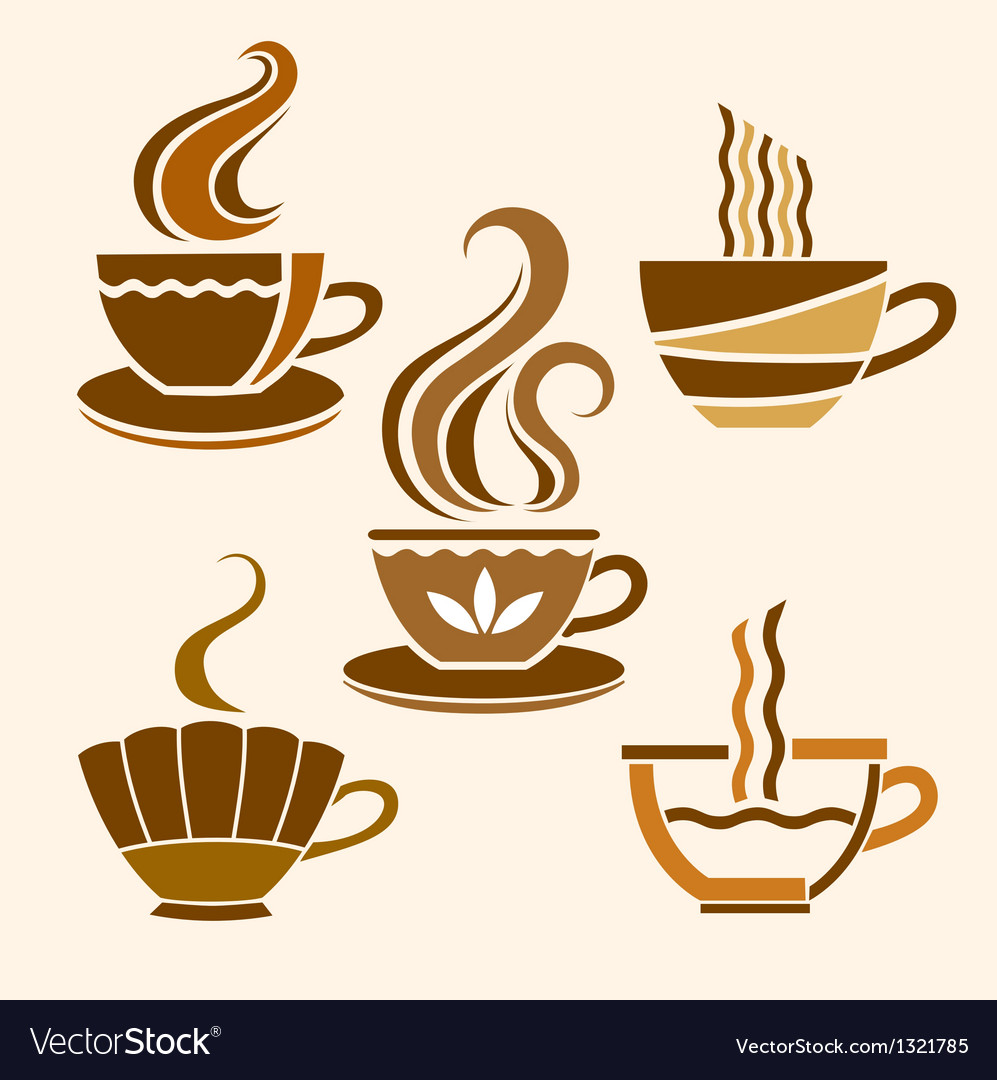 Five stylized cups vector | Price: 1 Credit (USD $1)