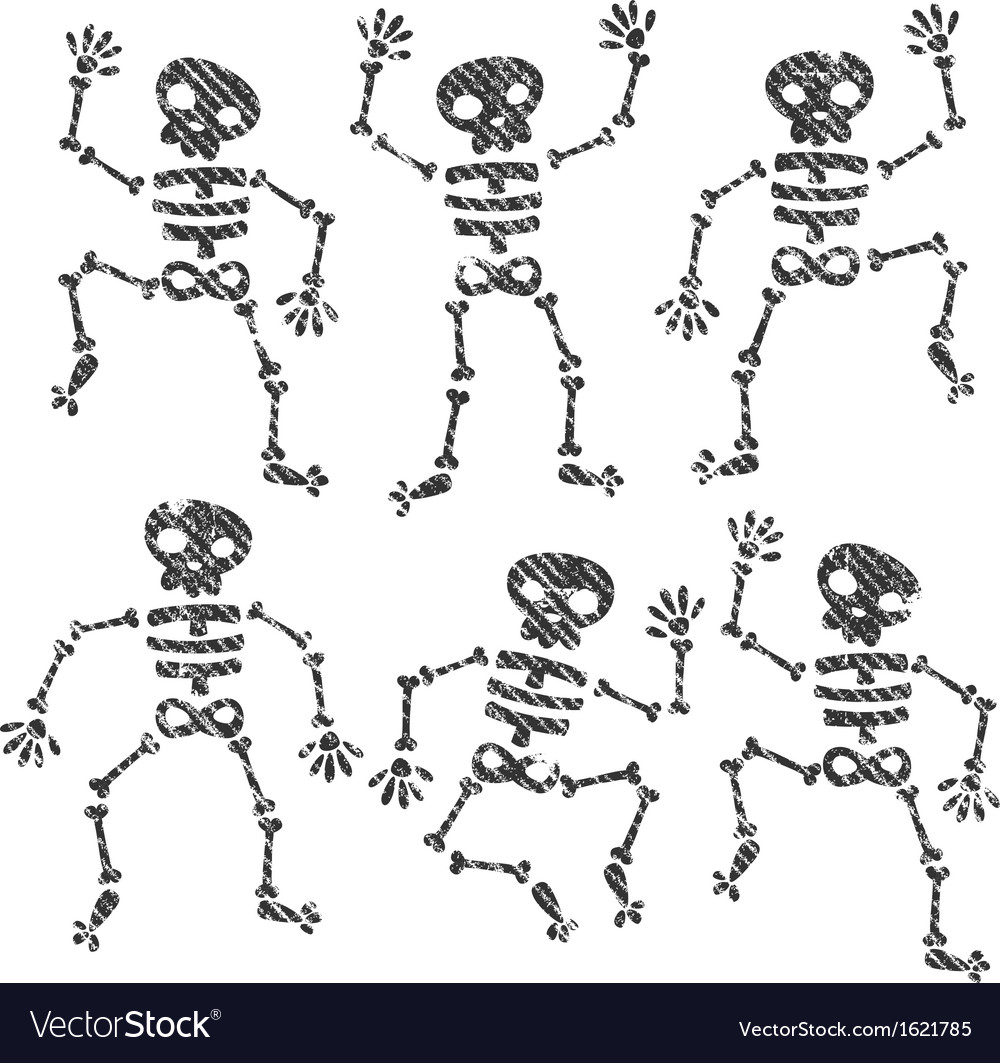 Grunge dancing skeletons vector | Price: 1 Credit (USD $1)