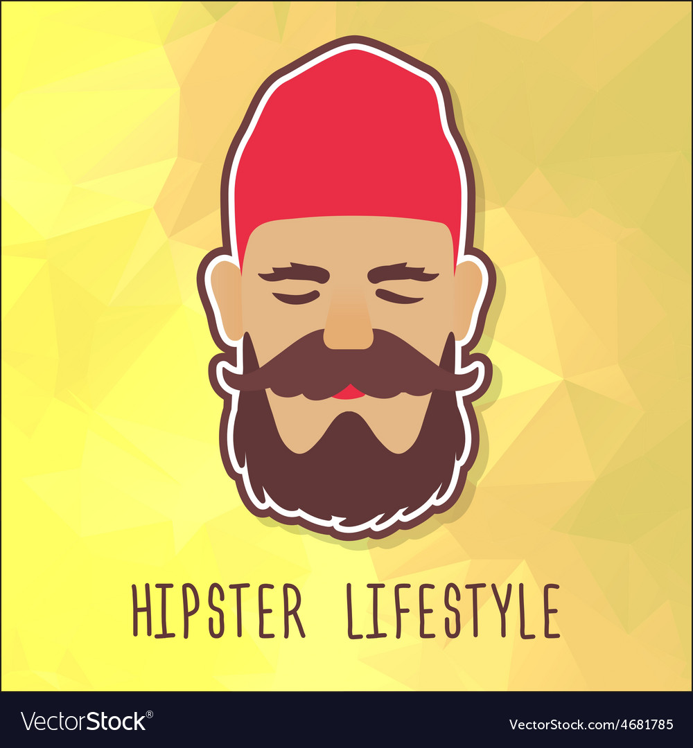 Hipster guy in a red fashion hat vector | Price: 1 Credit (USD $1)