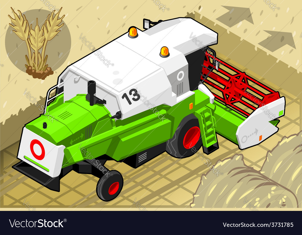 Isometric green thresher at work in rear view vector | Price: 3 Credit (USD $3)