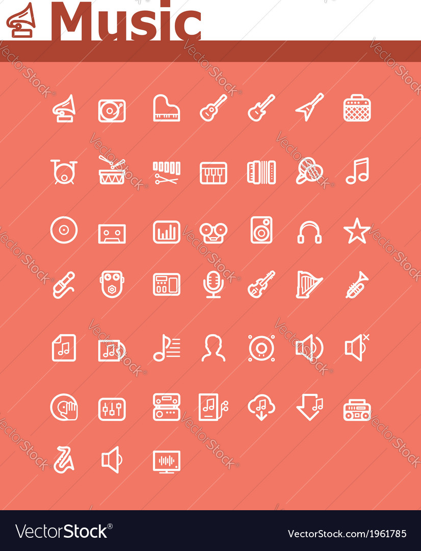 Music icon set vector | Price: 1 Credit (USD $1)
