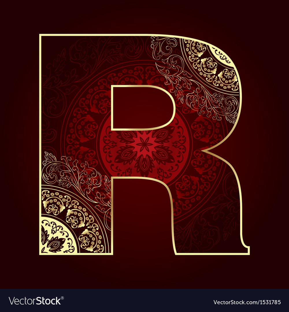 Vintage alphabet with floral swirls letter r vector | Price: 1 Credit (USD $1)