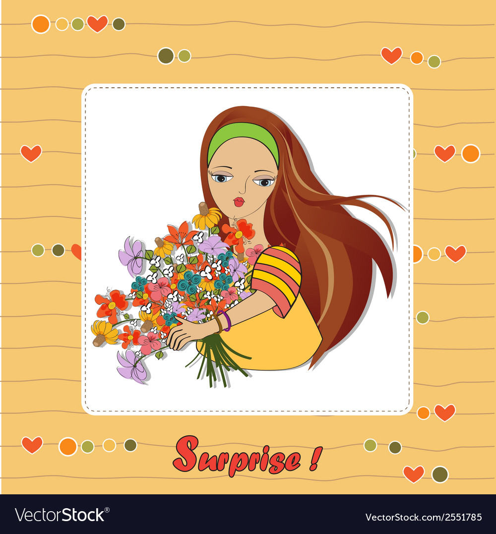 Young girl with a bunch of flowers vector | Price: 1 Credit (USD $1)
