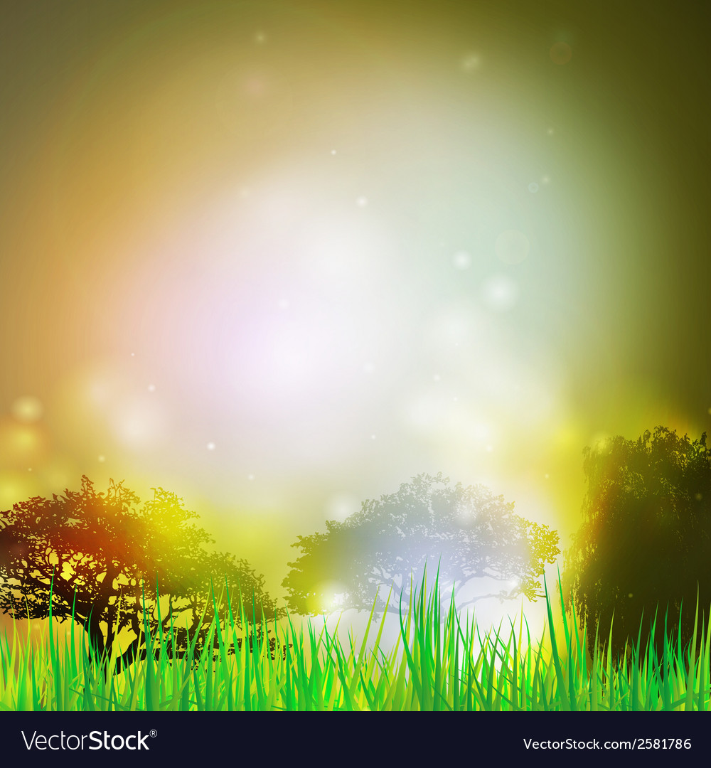 Abstract background with grass and silhouettes of vector | Price: 1 Credit (USD $1)