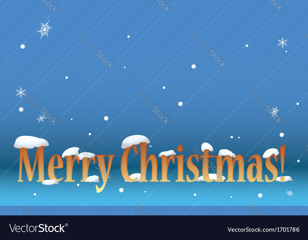 Blue background - merry christmas with snow vector | Price: 1 Credit (USD $1)