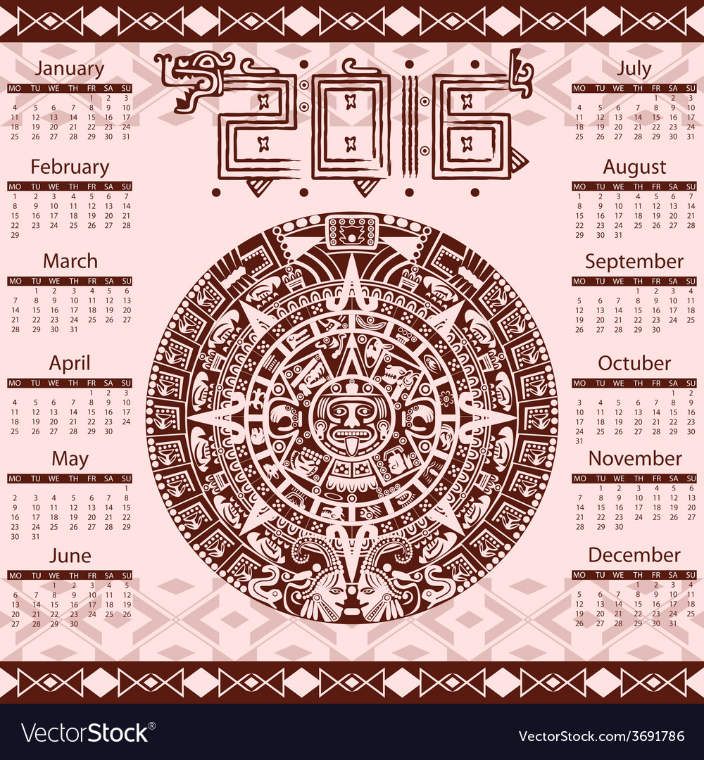 Calendar 2016 in aztec style vector | Price: 1 Credit (USD $1)