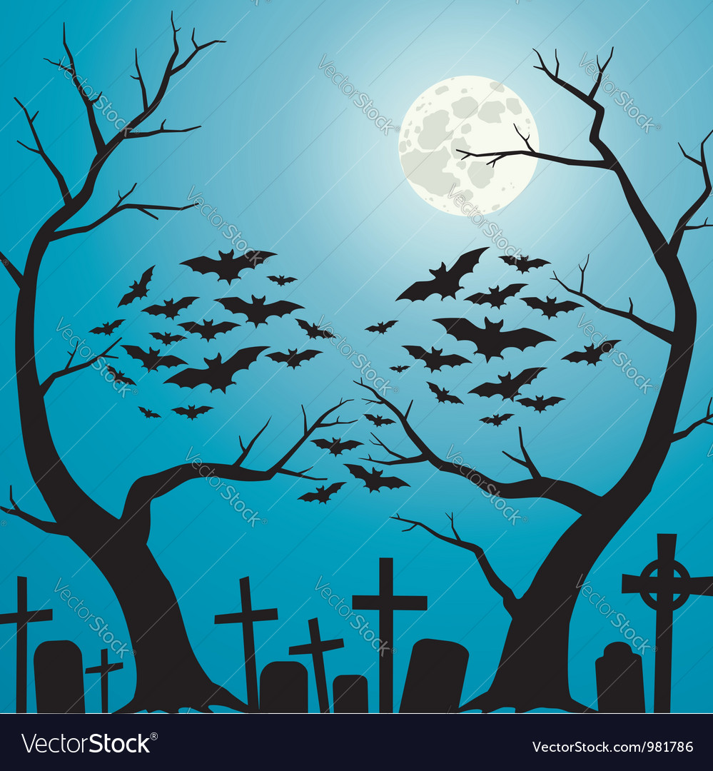 Cemetery blue vector | Price: 1 Credit (USD $1)