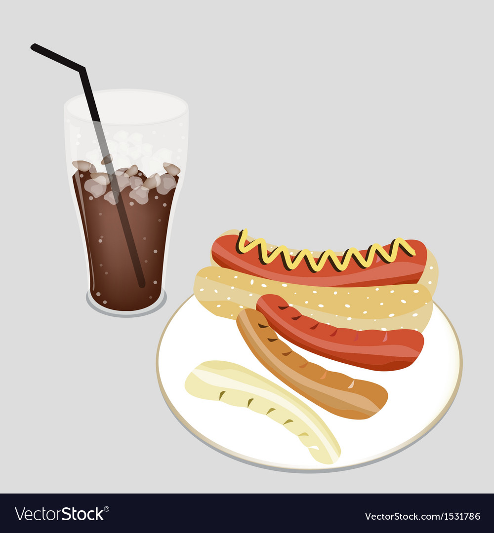 Delicious hot dog with a delicious iced coffee vector | Price: 1 Credit (USD $1)