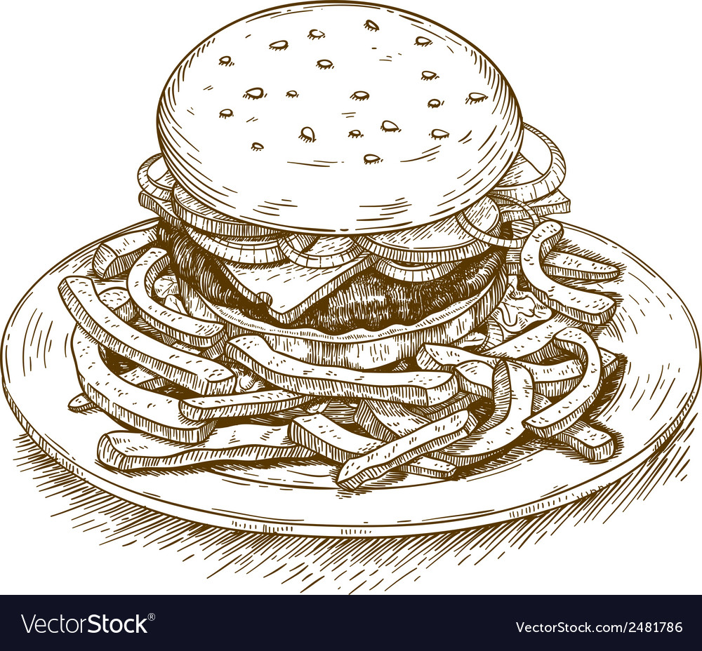 Engraving hamburger vector | Price: 1 Credit (USD $1)