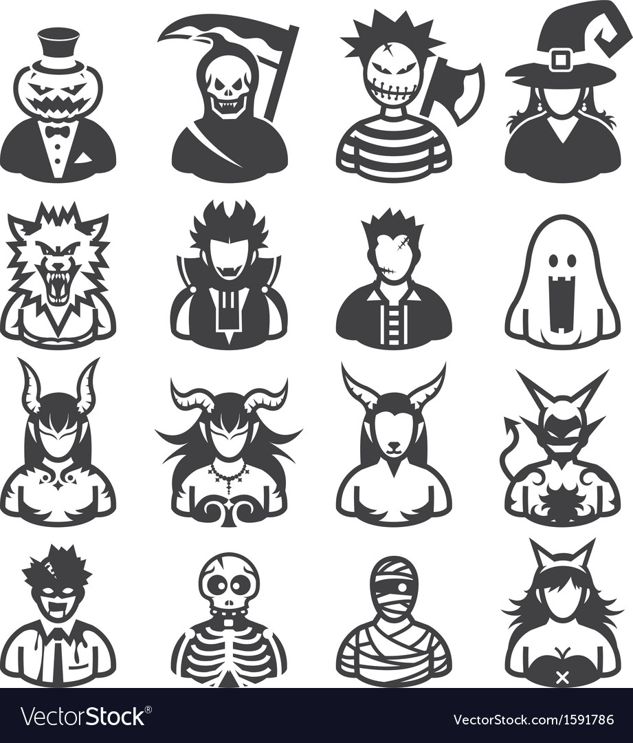 Halloween costumes icons vector | Price: 1 Credit (USD $1)