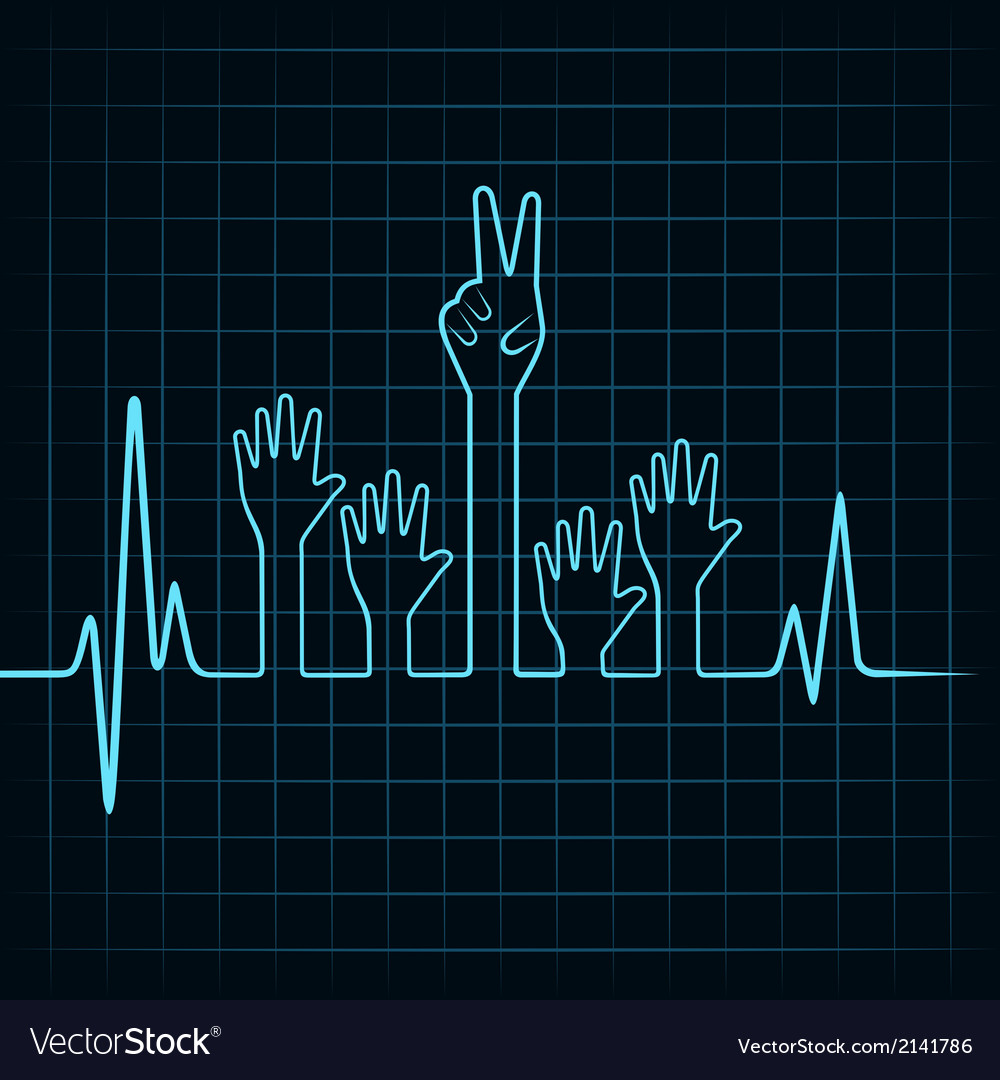 Heartbeat make helping and victory hand vector   Price: 1 Credit (USD $1)