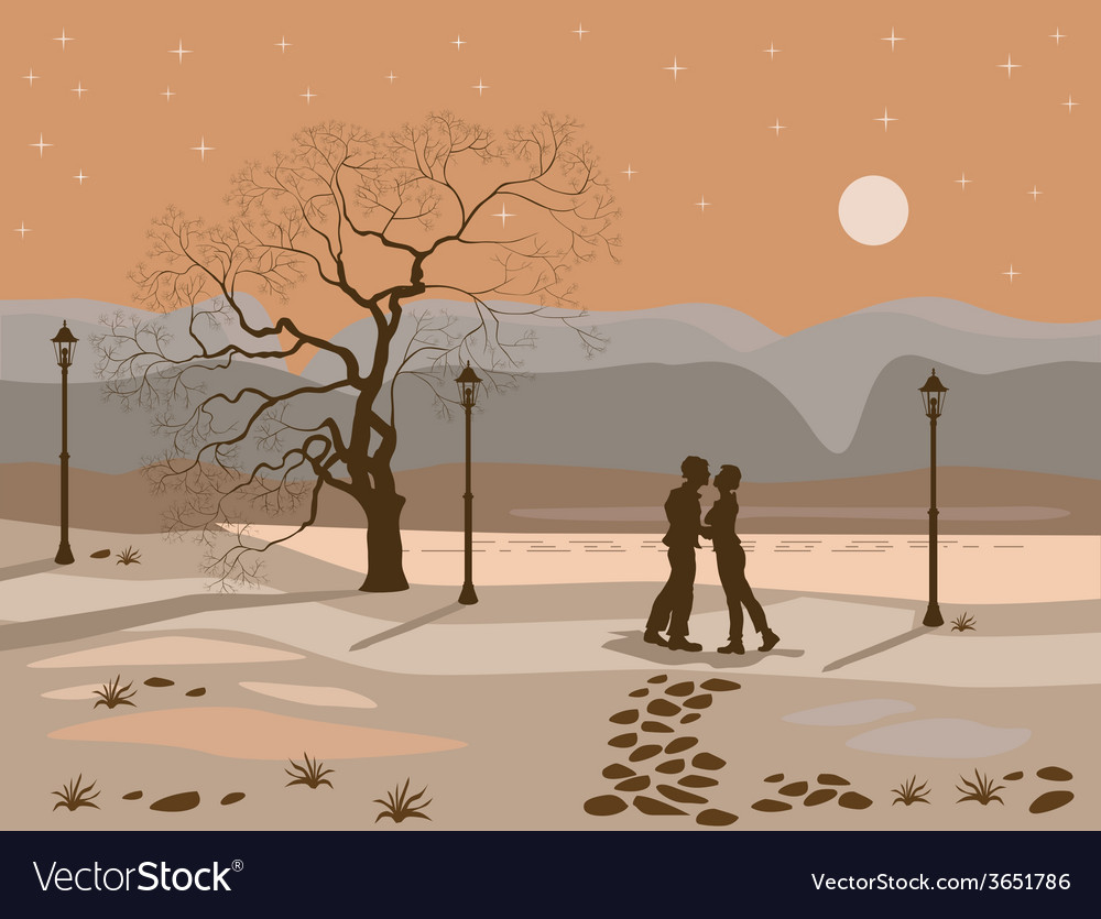 Kissing couple in the park at night vector | Price: 1 Credit (USD $1)