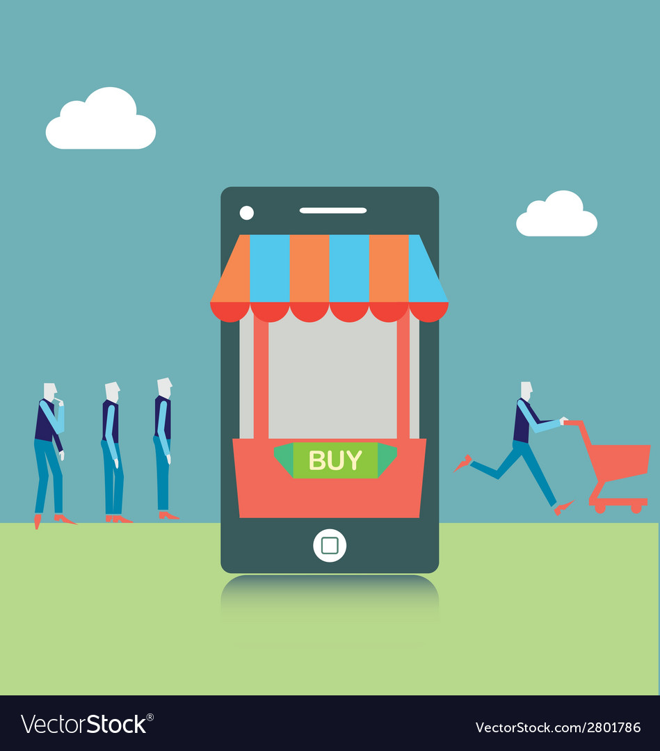 Mobile shopping vector | Price: 1 Credit (USD $1)