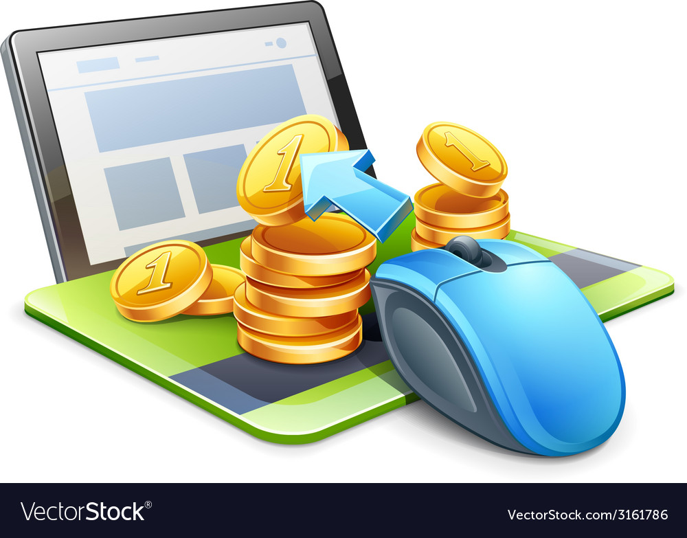 Mouse tablet coins vector | Price: 1 Credit (USD $1)