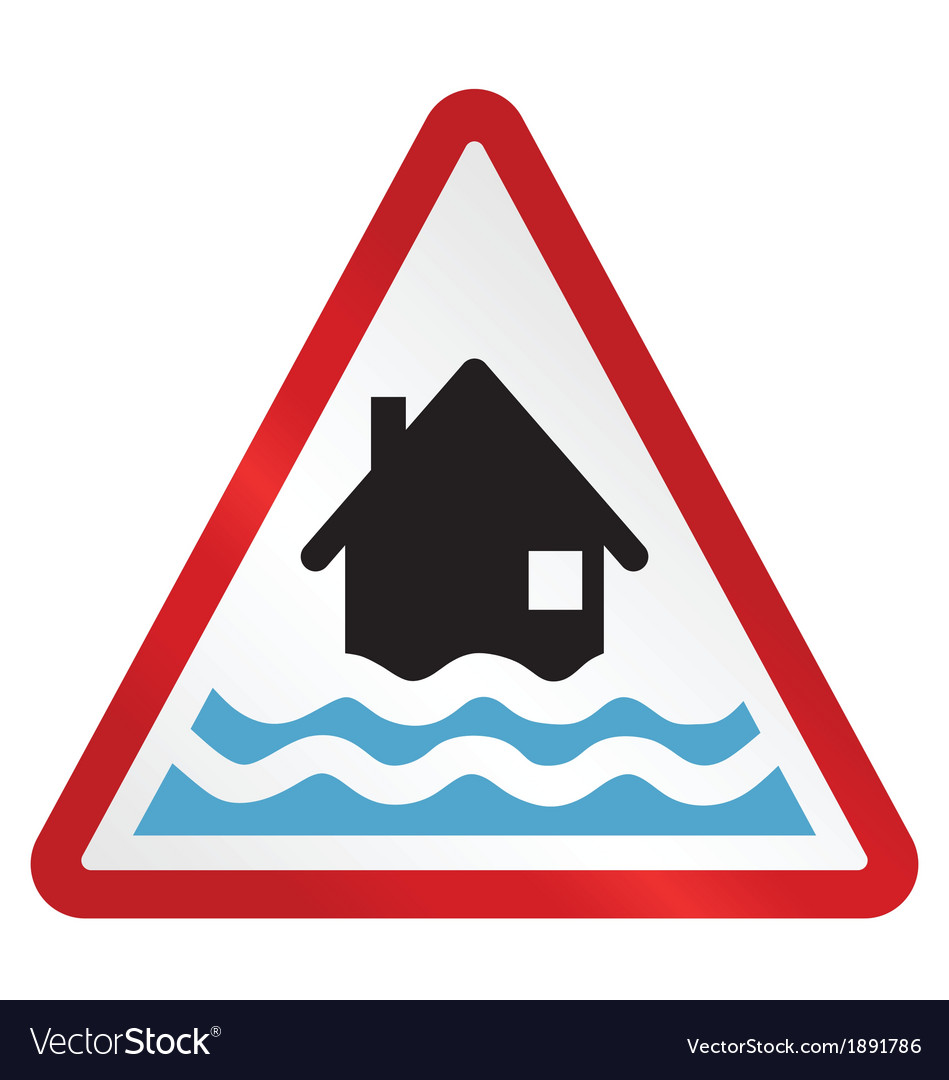Red flood warning sign vector | Price: 1 Credit (USD $1)