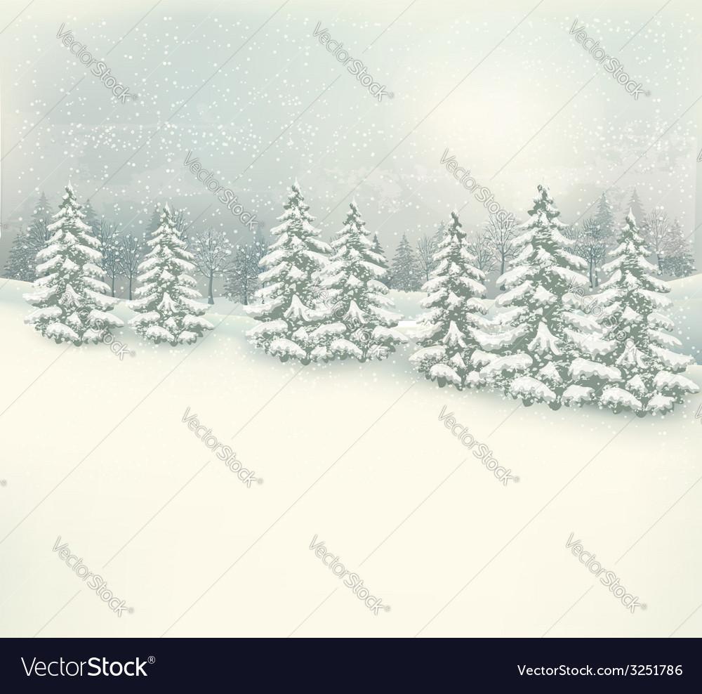 Retro christmas winter landscape background vector   Price: 1 Credit (USD $1)