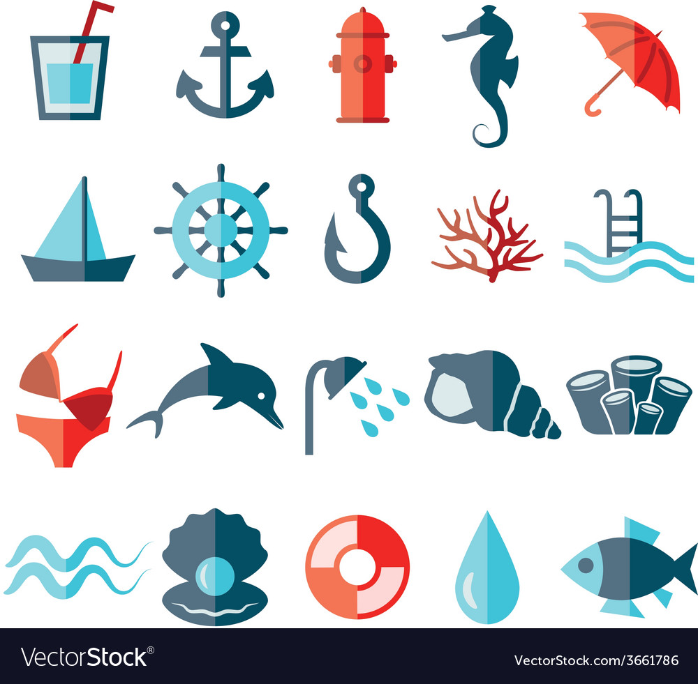 Water flat icons vector | Price: 1 Credit (USD $1)