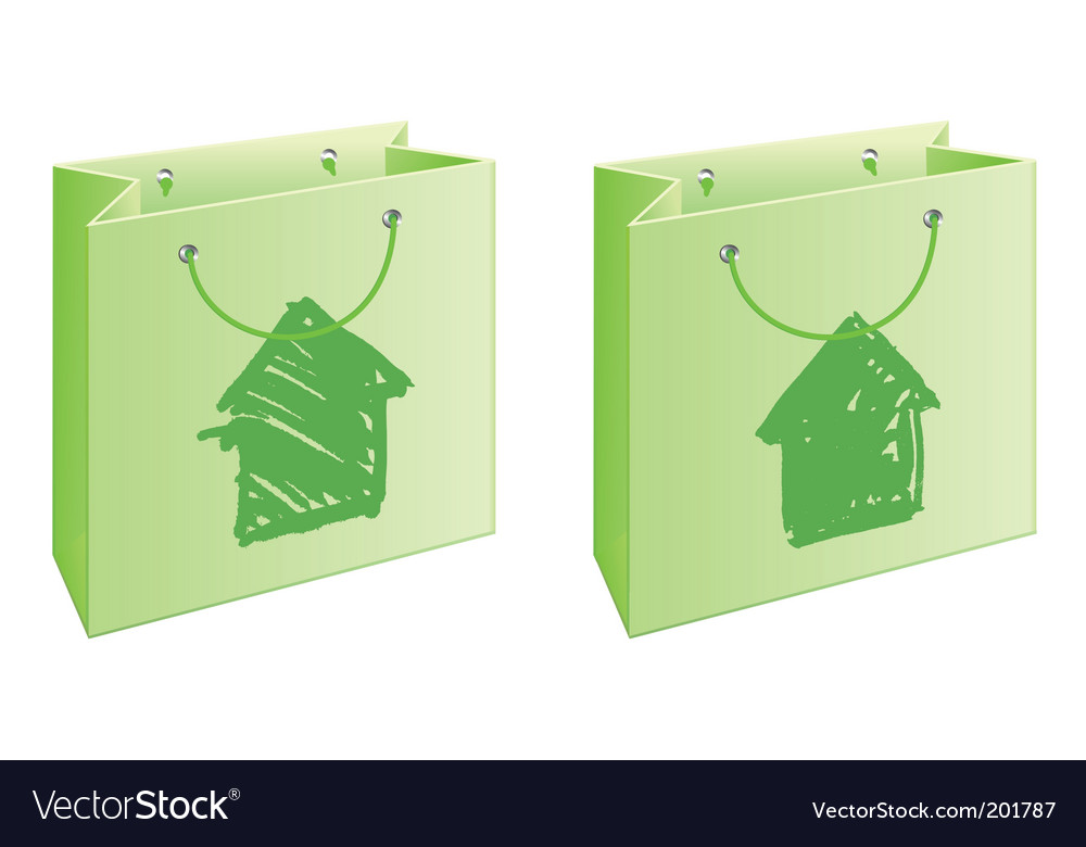 Bag with cottage vector | Price: 1 Credit (USD $1)